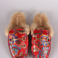 Horsebit Floral Fur Lined Slide-On Mules | UrbanOG