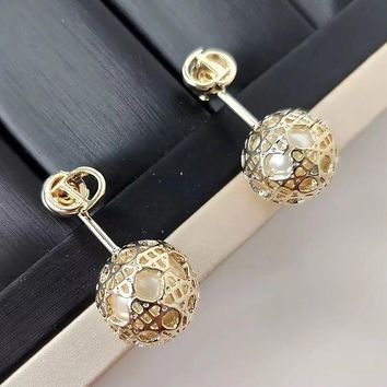 8DESS Dior Women Fashion Hollow Stud Earring Jewelry