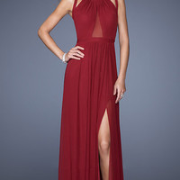 Red Sleeveless Mesh Accent Maxi Dress with High Slit