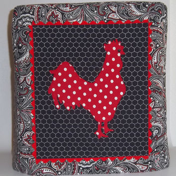 Red Polka Dot Rooster Mixer Cover - Kitchenaid MIxer Cover