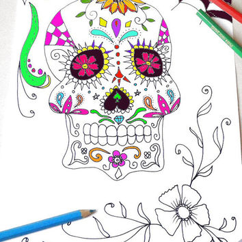 sugar skull halloween adult coloring page instant download art colouring book gothic wedding horror printable print digital lasoffittadiste