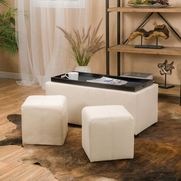 August 3pc Nested Tray Top Leather Storage Ottoman & Poufs
