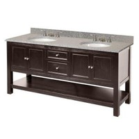 Foremost, Gazette 72 in. Vanity Combo in Espresso with Granite Vanity Top in Rushmore Grey and 2 Under-Mount Sinks in White, GAEAT7222D at The Home Depot - Mobile