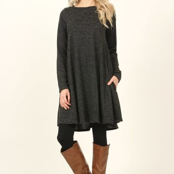 Hacci Brushed Pocket Shift Dress