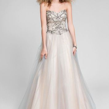 Terani Couture - Smashing Beaded Sweetheart Two-Tone Tulle Prom Gown 1711P2857