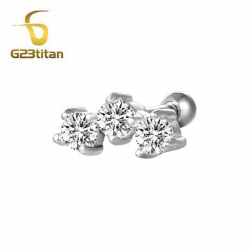G23titan Hot Body Jewelry Crystal Ear Plugs Ear Tragus Helix Piercing 16G Titanium Labret Studs Piercing For Women Men