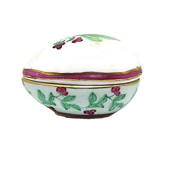 Vintage Porcelain Trinket Box | Enesco Trinket Egg Box | Porcelain Gift Box | Holiday Box | Gift for Mom |  Vanity Decor