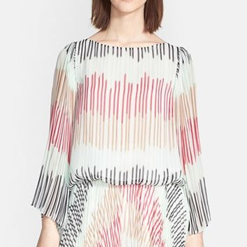Women's Alice + Olivia 'Briar' Multi Stripe Pleated Bell Sleeve Top