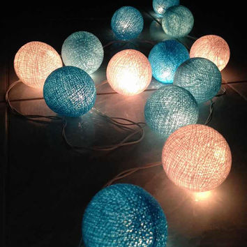 Cotton ball lights for home decor,party decor,wedding patio,20 pieces indoor string lights bedroom fairy lights white light blue tone