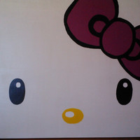 Hello Kitty Face with dark pink bow