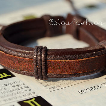Christmas gift, Winter Gift, Brown Leather Cuff Coffee Waxed Cotton Cord Wrap Bracelet