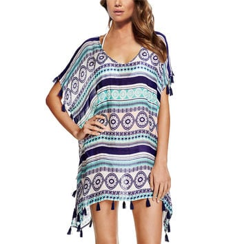 Dailiwei Chiffon Beach Tunic Loose Printed Bikini Cover Up Women Swimsuit Cover Up Beachwear Summer Style Bathing Suit Cover-Ups