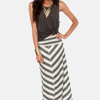 Lucy Love Cape Cod Wide Grey Striped Maxi Skirt
