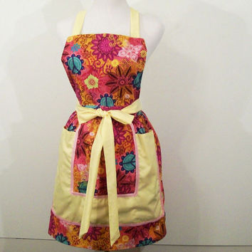 Women's Reto Full Apron--Hot Pink Print with Yellow -Made in the Usa-----#110