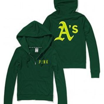 Oakland Athletics Bling Perfect Full Zip Hoodie - PINK - Victoria's Secret