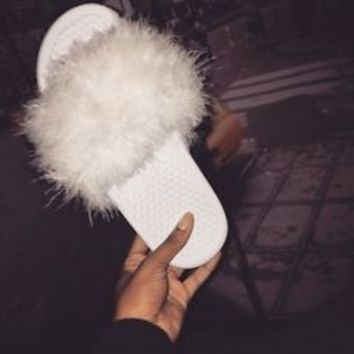 Fur Nike Slides Fur Slipper Faux Fur
