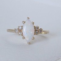 Vintage 14k solid gold natural marquise opal diamond ring antique art deco