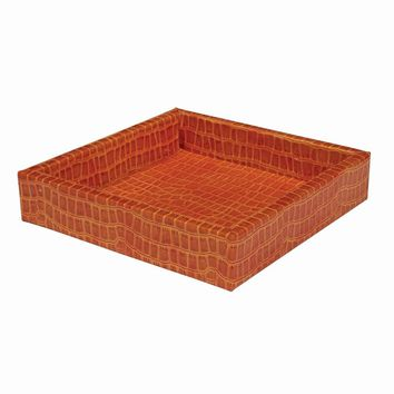 Orange Faux Leather Croc Texture Valet Tray - Perfect Gift