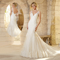 Vnaix W38 Delicate Beautiful Applique Long Mermaid Wedding Dress 2015 Cap Sleeve V-Neck Lace Bridal Dresses vestido de noiva