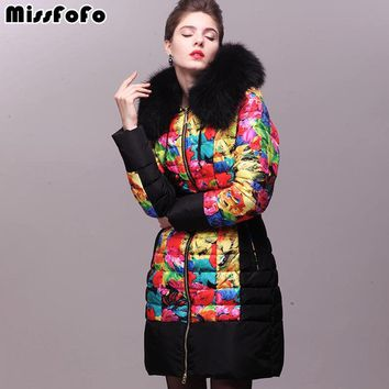 Women Down Coats Royal Cat Jacket New Fashion Real Raccoon Fur 3D Print Thick Down Coat for Female Winter Jacket