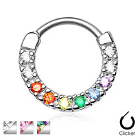 Curved Post Septum Clicker with 10 Gems