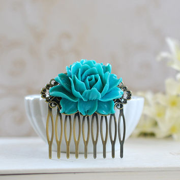 Large Teal Blue Flower Hair Comb. Teal Wedding Hir Comb, Bridal Hair Comb, Bridesmaid Hair Comb, Vintage Inspired Filigree Comb