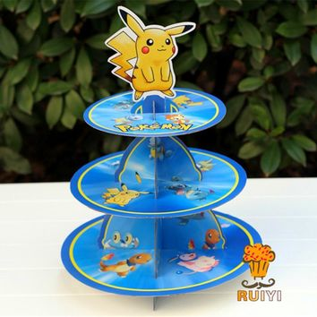 1 set cartoon Anime  go Pikachu birthday baby shower party cardboard cupcake stand hold 24 cupcakesKawaii Pokemon go  AT_89_9