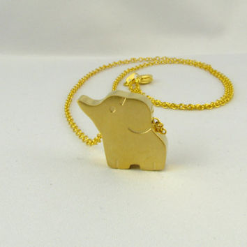Gold Elephant Necklace / Elephant Charm Pendant Necklace, Baby Elephant Necklace, Elephant Jewellery, Pendant Necklace, Gift Jewelry