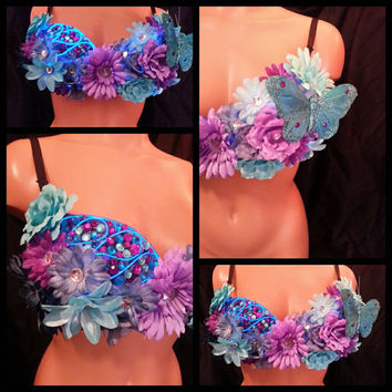 LED Dark Daisy Rave Bra, Rave Outfit, EDC Costume, Custom Rave Outfit