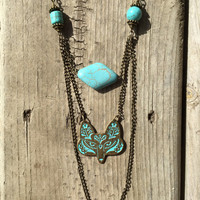 Boho Tribal Fox Necklace // Turquoise Fox Necklace // Long Fox Necklace // bohemian necklace // animal necklace - woodland necklace