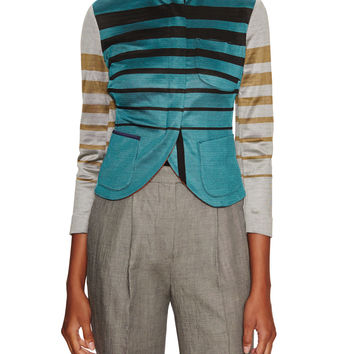 Paul Smith Women's Striped Curved Jacket - Size 38