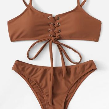 Sexy Split High Waist Solid Color Strap Bikini [1410632744996]