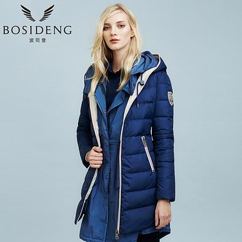 BOSIDENG winter down coat slim brief fashion medium-long female hooded duck down jacket high quality long parka b1401106x