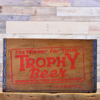 Vintage Trophy Beer Crate, Wooden Beer Crate, Chicago Breweriana