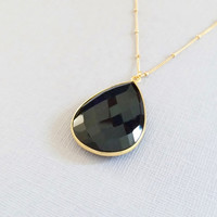 Superb, Natural Black Onyx Gemstone, Bezel-Wrapped with 24k Gold Vermeil and Dainty 14k Gold Filled Satellite Chian