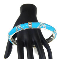 Turquoise Enamel Hinged Bangle Bracelet with Rhinestones Large