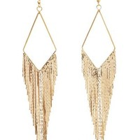 Gold Dangling Chain & Fringe Chandelier Earrings by Charlotte Russe