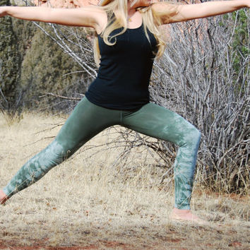 Tie Dye Yoga Leggings in Olive Sage - Green Leggings