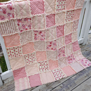 Rag Quilt, Lap Quilt, Throw Quilt, Cottage Chic, Shabby Style, Raspberry Parlour, Riley Blake, Cream, Pink, Handmade 48 X 62, Ready To Ship,