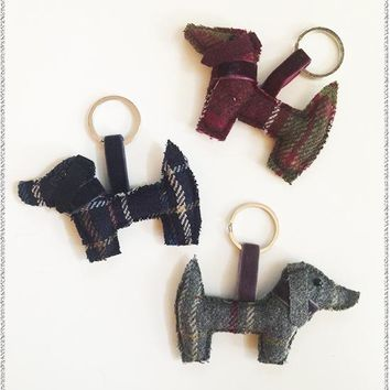 Tweed Dog Key Ring