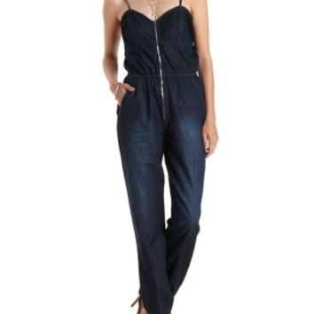 Meborn Pin-Tucked Zip-Up Denim Jumpsuit