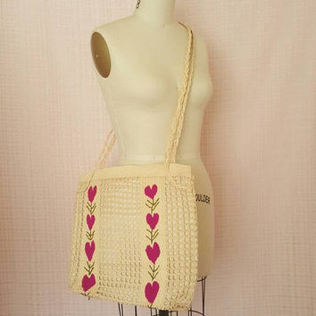 Beautiful Vintage Woven Embroidered Heart Basket Purse