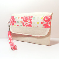 Wedding Clutch - Bridal Purse - Floral Polka Dot - Yellow Mint Green Coral - Bridesmaid Bag - Wristlet Bag