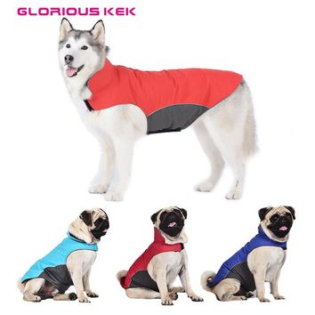 Quality Large Dog Clothes Waterproof Spring Dog Raincoat Outdoor Jacket Pet Coat for Pugs Husky Bull Dogs Fleece Lining S-5XL