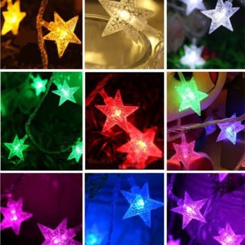 8Colors Fashion Holiday Lighting 20 LED Novelty Stars Flower Fairy String Lights Wedding Garden Party Valentine's Day Decoration