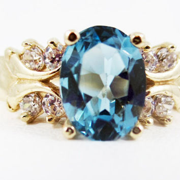 London Blue Topaz 14k Yellow Gold CZ Accent Oval Ring, Solid 14 Karat Gold Ring, Gold Engagement Ring, December Birthstone Ring, Multi Stone