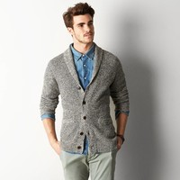 AEO Waffle-Knit Shawl Cardigan, Sheep | American Eagle Outfitters