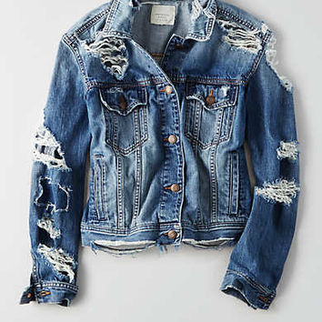 AEO Destroyed Denim Jacket , Bright Blue