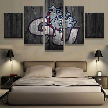 5 Pieces Gonzaga Bulldogs Wall Art Picture Modern Home Decoration Living Room Or Bedroom Canvas Print Painting Wall Picture