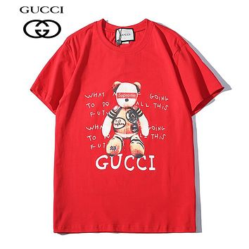 GUCCI Supreme Popular Women Men Casual Cute Bear Print T-Shirt Top Tee Red